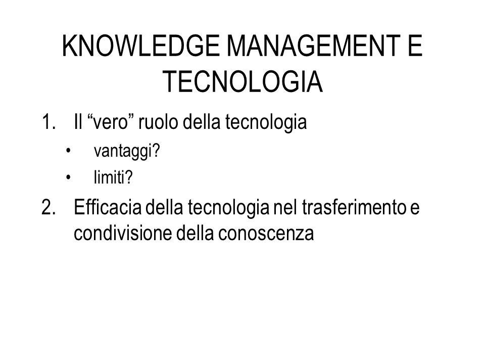 KNOWLEDGE MANAGEMENT E TECNOLOGIA 1.Il vero ruolo della tecnologia vantaggi? limiti? 2.Efficacia della tecnologia nel trasferimento e condivisione del