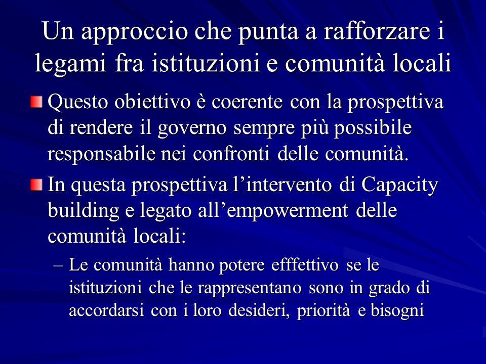Un approccio che punta a rafforzare i legami fra istituzioni e comunità locali Questo obiettivo è coerente con la prospettiva di rendere il governo sempre più possibile responsabile nei confronti delle comunità.