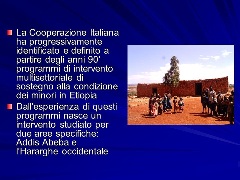 La Cooperazione Italiana ha progressivamente identificato e definito a partire degli anni 90 programmi di intervento multisettoriale di sostegno alla condizione dei minori in Etiopia Dallesperienza di questi programmi nasce un intervento studiato per due aree specifiche: Addis Abeba e lHararghe occidentale