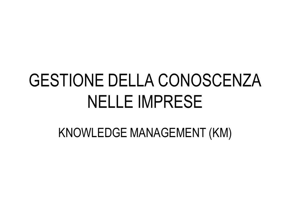 GESTIONE DELLA CONOSCENZA NELLE IMPRESE KNOWLEDGE MANAGEMENT (KM)