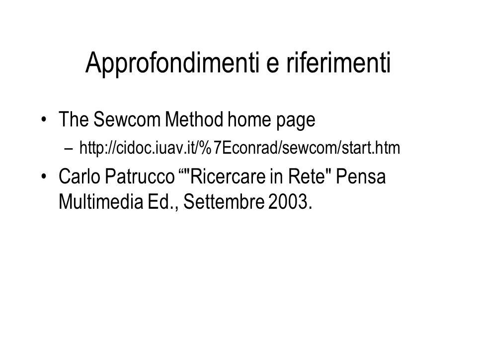 Approfondimenti e riferimenti The Sewcom Method home page –http://cidoc.iuav.it/%7Econrad/sewcom/start.htm Carlo Patrucco Ricercare in Rete Pensa Multimedia Ed., Settembre 2003.