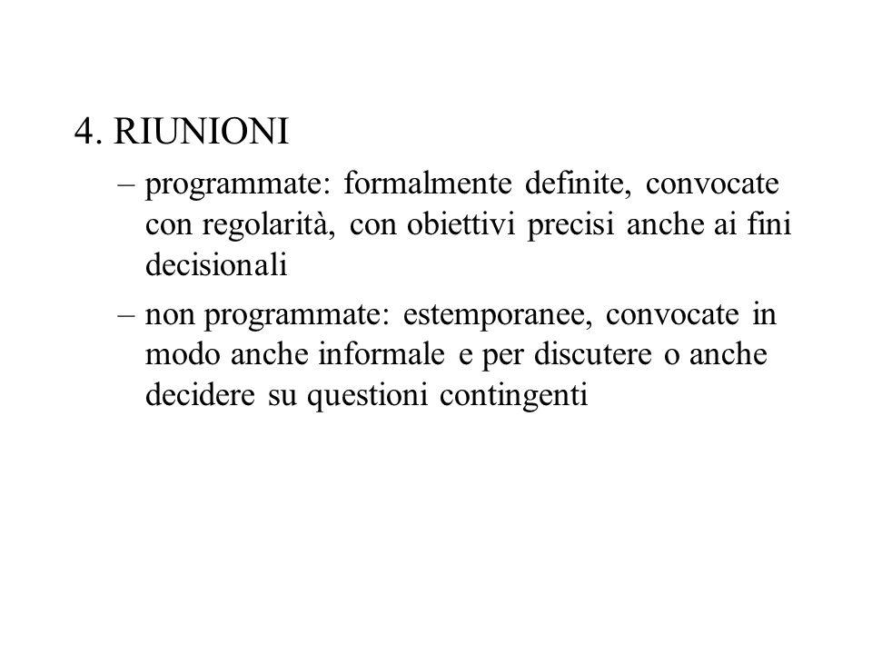 4. RIUNIONI –programmate: formalmente definite, convocate con regolarità, con obiettivi precisi anche ai fini decisionali –non programmate: estemporan