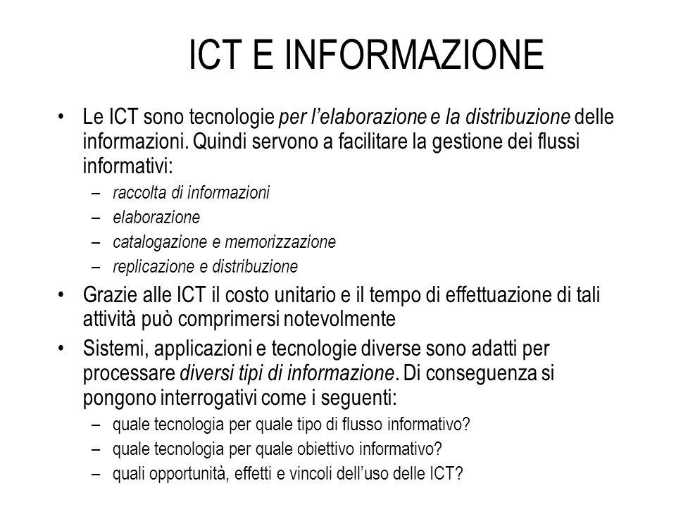 ICT E INFORMAZIONE Le ICT sono tecnologie per lelaborazione e la distribuzione delle informazioni. Quindi servono a facilitare la gestione dei flussi