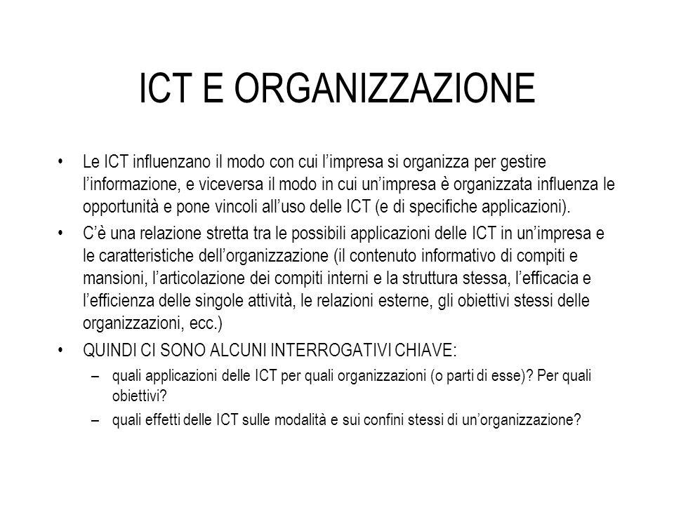 ICT E ORGANIZZAZIONE Le ICT influenzano il modo con cui limpresa si organizza per gestire linformazione, e viceversa il modo in cui unimpresa è organi