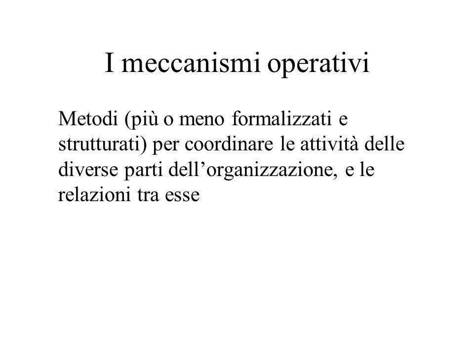 I meccanismi operativi Metodi (più o meno formalizzati e strutturati) per coordinare le attività delle diverse parti dellorganizzazione, e le relazion