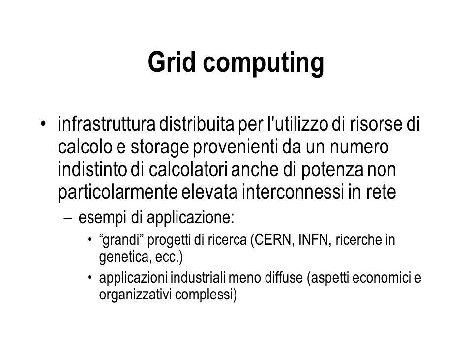 Grid computing infrastruttura distribuita per l'utilizzo di risorse di calcolo e storage provenienti da un numero indistinto di calcolatori anche di p
