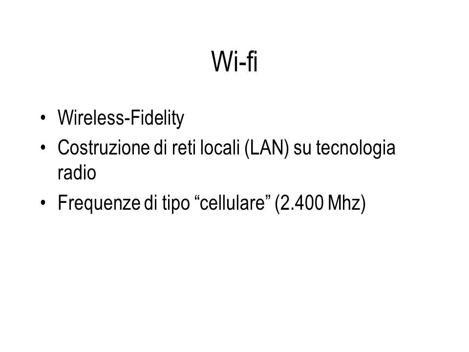 Wi-fi Wireless-Fidelity Costruzione di reti locali (LAN) su tecnologia radio Frequenze di tipo cellulare (2.400 Mhz)