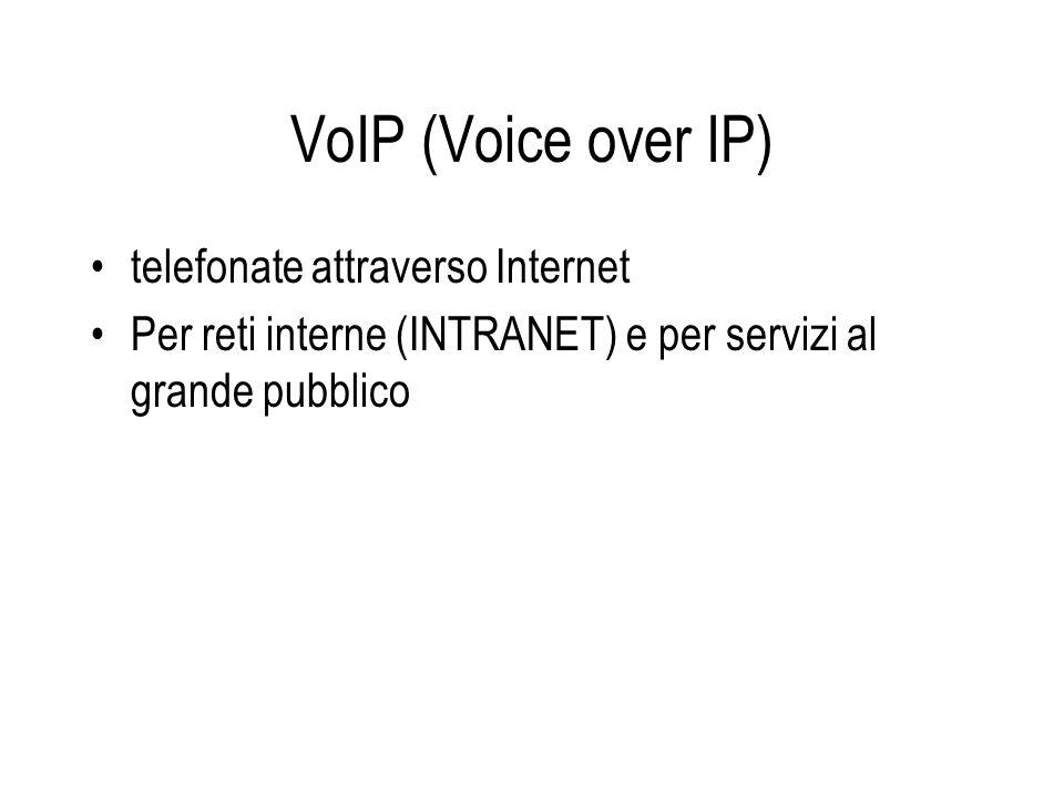 VoIP (Voice over IP) telefonate attraverso Internet Per reti interne (INTRANET) e per servizi al grande pubblico
