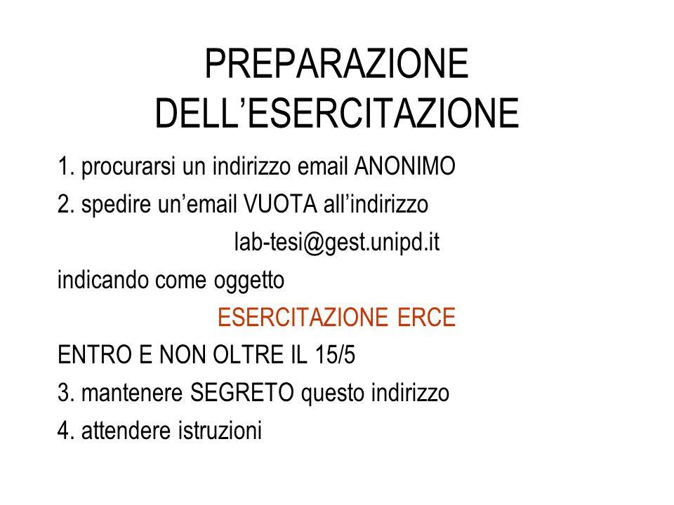 PREPARAZIONE DELLESERCITAZIONE 1. procurarsi un indirizzo email ANONIMO 2. spedire unemail VUOTA allindirizzo lab-tesi@gest.unipd.it indicando come og