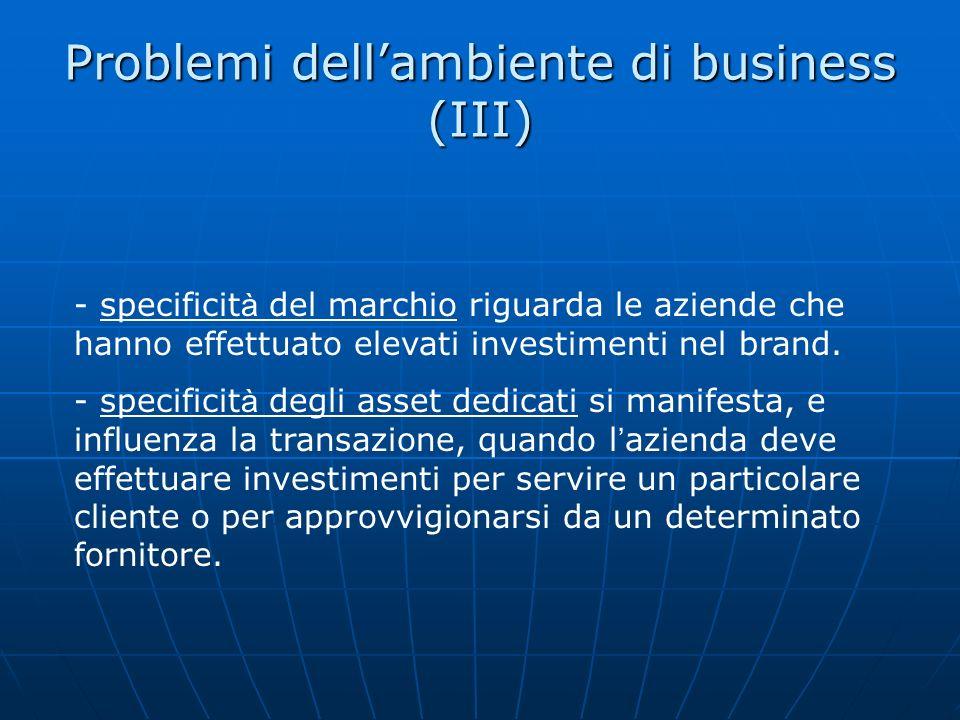 Problemi dellambiente di business (III) - specificit à del marchio riguarda le aziende che hanno effettuato elevati investimenti nel brand. - specific