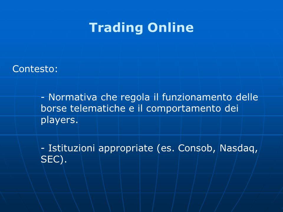 Trading Online Contesto: - Normativa che regola il funzionamento delle borse telematiche e il comportamento dei players. - Istituzioni appropriate (es