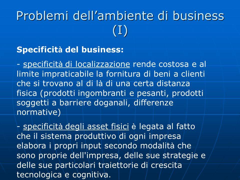 Problemi dellambiente di business (I) Specificit à del business: - specificit à di localizzazione rende costosa e al limite impraticabile la fornitura