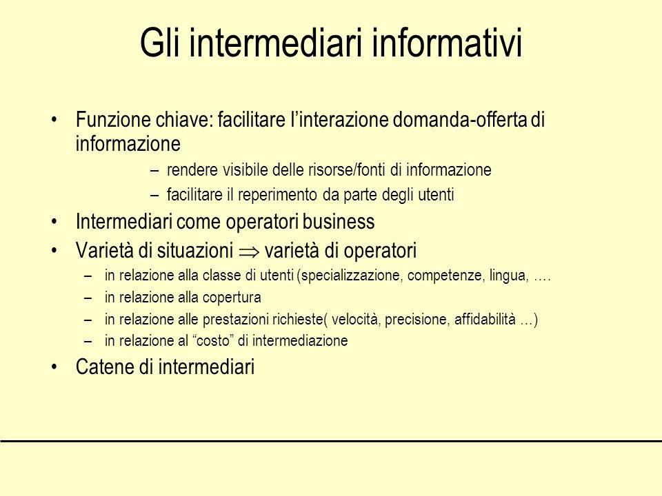 Gli intermediari informativi Funzione chiave: facilitare linterazione domanda-offerta di informazione –rendere visibile delle risorse/fonti di informa