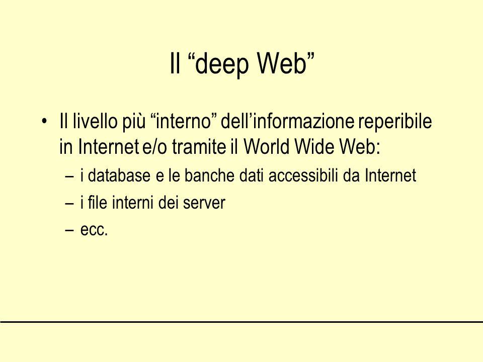 Il deep Web Il livello più interno dellinformazione reperibile in Internet e/o tramite il World Wide Web: –i database e le banche dati accessibili da