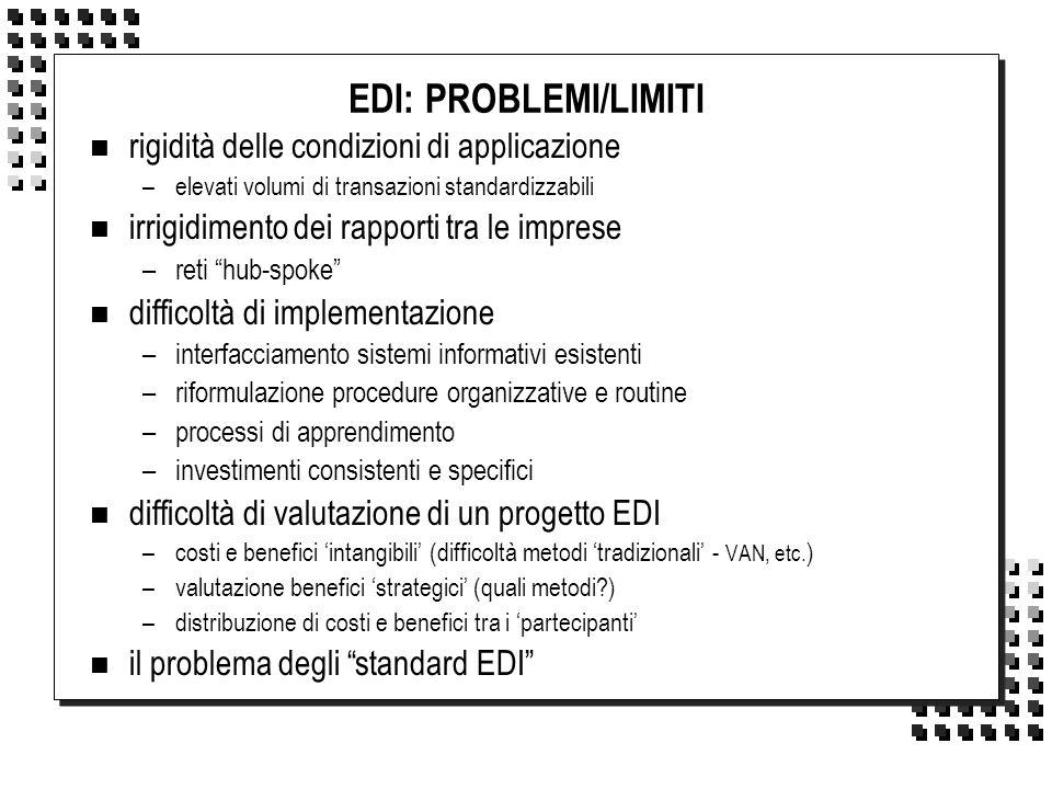 EDI: PROBLEMI/LIMITI n rigidità delle condizioni di applicazione –elevati volumi di transazioni standardizzabili n irrigidimento dei rapporti tra le i