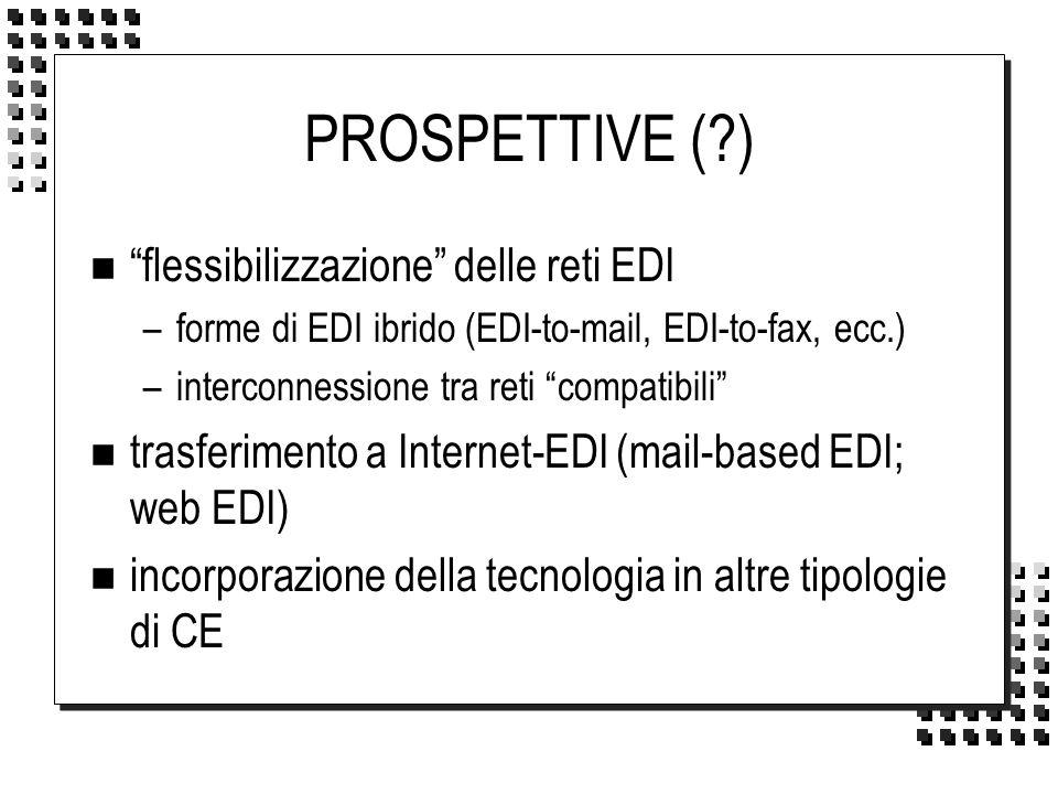PROSPETTIVE (?) n flessibilizzazione delle reti EDI –forme di EDI ibrido (EDI-to-mail, EDI-to-fax, ecc.) –interconnessione tra reti compatibili n tras