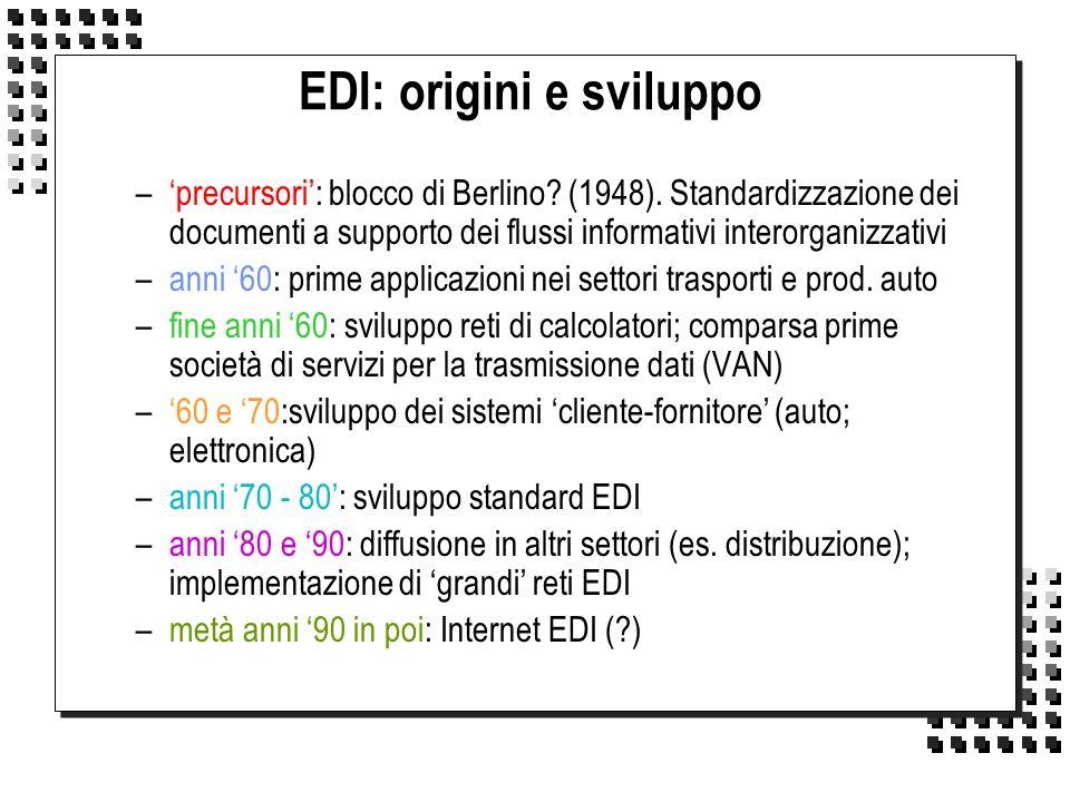 EDI: origini e sviluppo –precursori: blocco di Berlino? (1948). Standardizzazione dei documenti a supporto dei flussi informativi interorganizzativi –