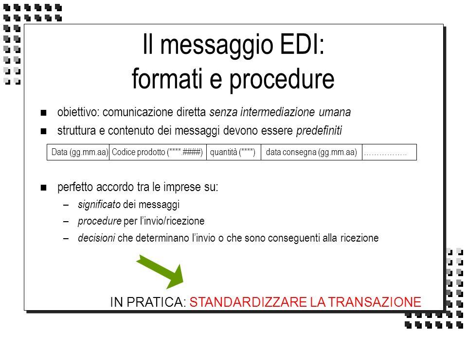 Il messaggio EDI: formati e procedure n obiettivo: comunicazione diretta senza intermediazione umana n struttura e contenuto dei messaggi devono esser