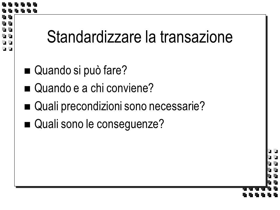 Standardizzare la transazione n Quando si può fare? n Quando e a chi conviene? n Quali precondizioni sono necessarie? n Quali sono le conseguenze?