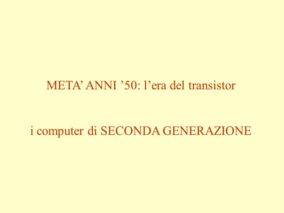 META ANNI 50: lera del transistor i computer di SECONDA GENERAZIONE