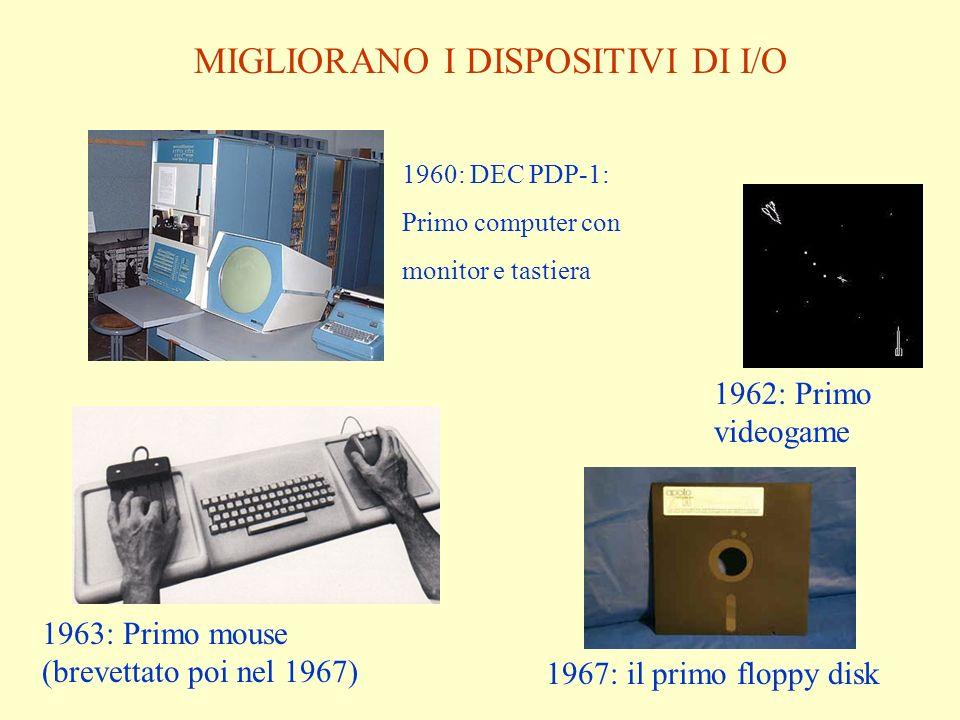 1960: DEC PDP-1: Primo computer con monitor e tastiera 1962: Primo videogame 1963: Primo mouse (brevettato poi nel 1967) 1967: il primo floppy disk MI