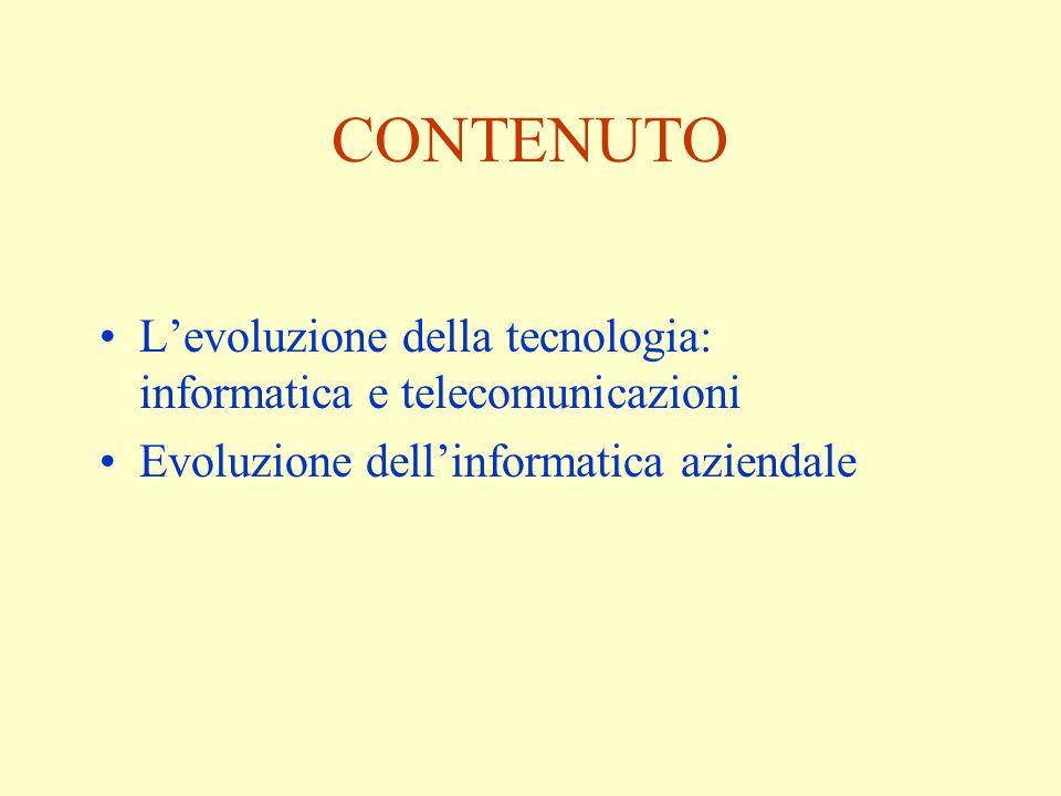 CONTENUTO Levoluzione della tecnologia: informatica e telecomunicazioni Evoluzione dellinformatica aziendale