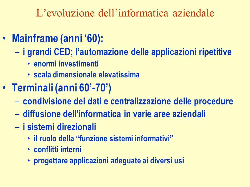 Levoluzione dellinformatica aziendale Mainframe (anni 60): – i grandi CED; lautomazione delle applicazioni ripetitive enormi investimenti scala dimens