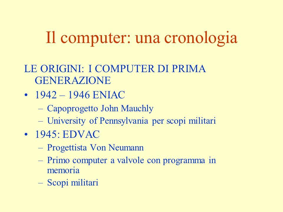 Il computer: una cronologia LE ORIGINI: I COMPUTER DI PRIMA GENERAZIONE 1942 – 1946 ENIAC –Capoprogetto John Mauchly –University of Pennsylvania per s