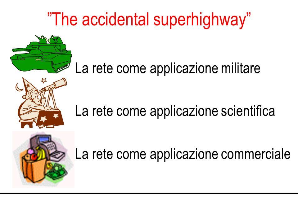 The accidental superhighway La rete come applicazione militare La rete come applicazione scientifica La rete come applicazione commerciale