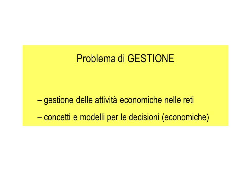 Problema di GESTIONE – gestione delle attività economiche nelle reti – concetti e modelli per le decisioni (economiche)