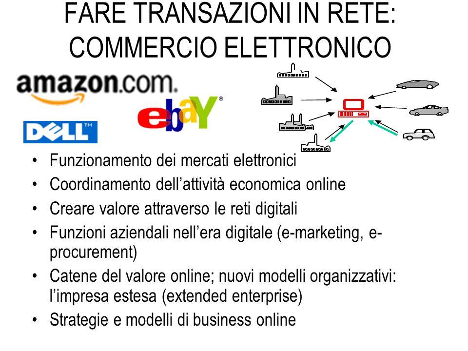 FARE TRANSAZIONI IN RETE: COMMERCIO ELETTRONICO Funzionamento dei mercati elettronici Coordinamento dellattività economica online Creare valore attrav