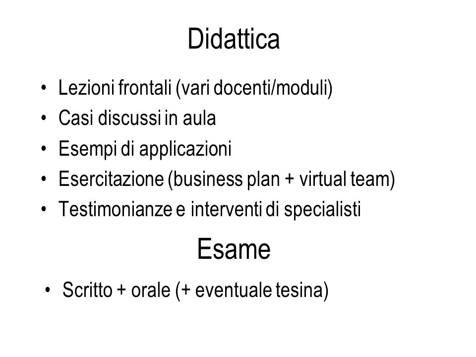 Didattica Lezioni frontali (vari docenti/moduli) Casi discussi in aula Esempi di applicazioni Esercitazione (business plan + virtual team) Testimonian