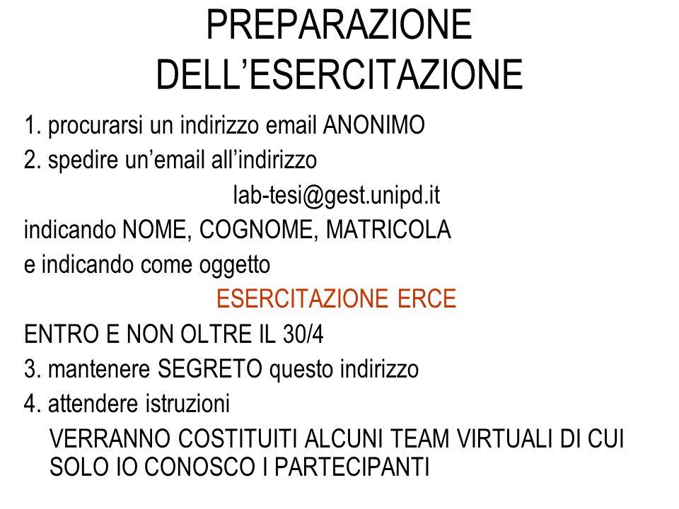 PREPARAZIONE DELLESERCITAZIONE 1. procurarsi un indirizzo email ANONIMO 2. spedire unemail allindirizzo lab-tesi@gest.unipd.it indicando NOME, COGNOME