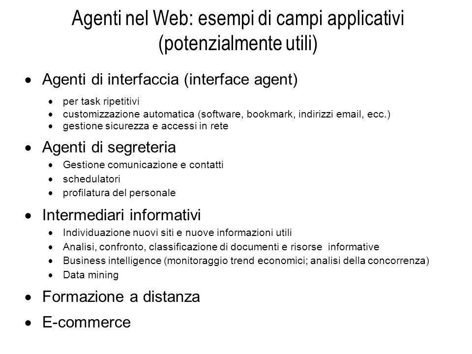 Agenti nel Web: esempi di campi applicativi (potenzialmente utili) Agenti di interfaccia (interface agent) per task ripetitivi customizzazione automat