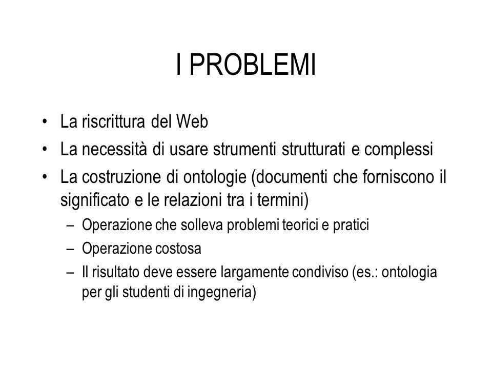 I PROBLEMI La riscrittura del Web La necessità di usare strumenti strutturati e complessi La costruzione di ontologie (documenti che forniscono il sig