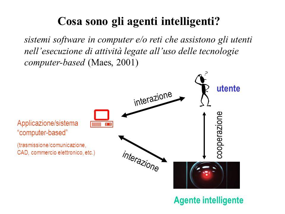 Cosa sono gli agenti intelligenti? sistemi software in computer e/o reti che assistono gli utenti nellesecuzione di attività legate alluso delle tecno