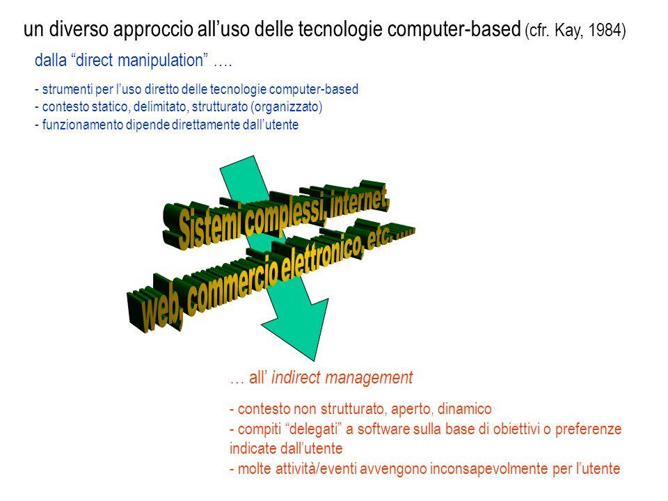 dalla direct manipulation …. - strumenti per luso diretto delle tecnologie computer-based - contesto statico, delimitato, strutturato (organizzato) -