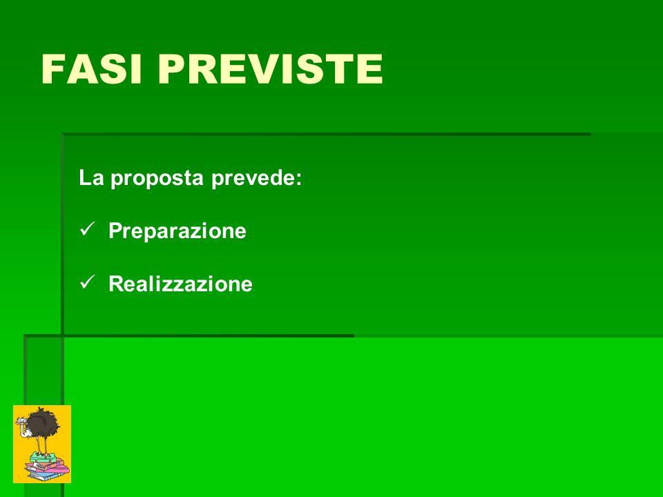FASI PREVISTE La proposta prevede: Preparazione Realizzazione