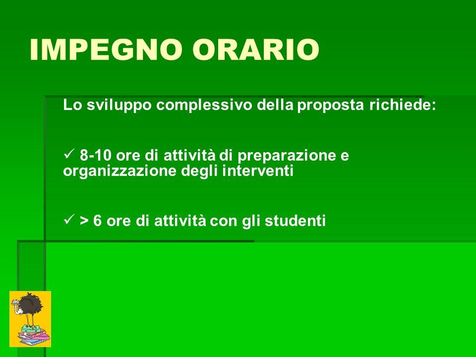 IMPEGNO ORARIO Lo sviluppo complessivo della proposta richiede: 8-10 ore di attività di preparazione e organizzazione degli interventi > 6 ore di attività con gli studenti