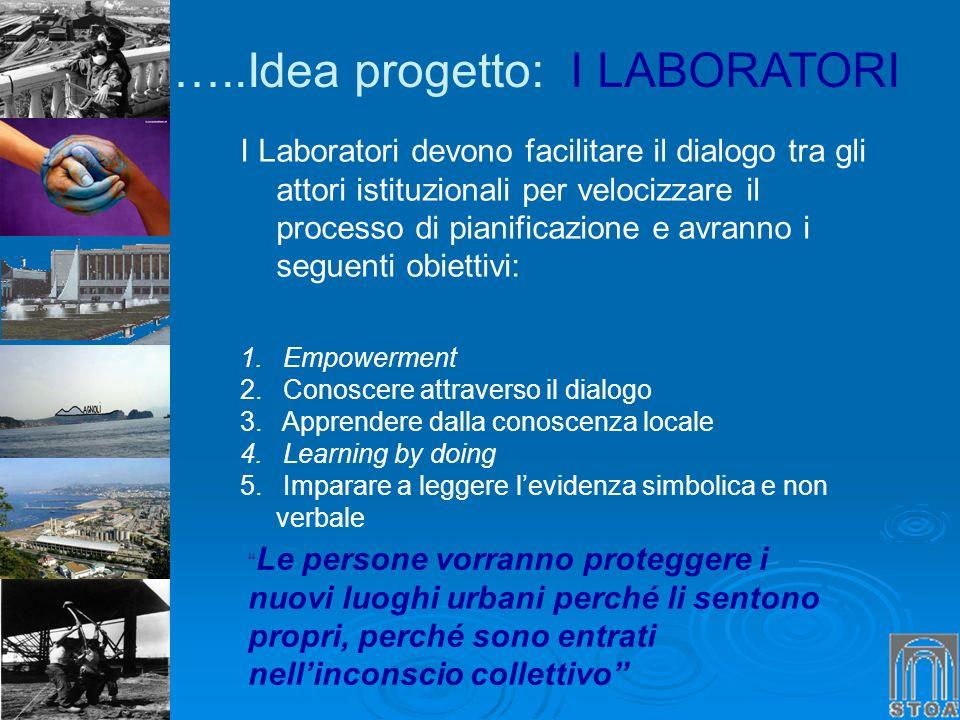 I Laboratori devono facilitare il dialogo tra gli attori istituzionali per velocizzare il processo di pianificazione e avranno i seguenti obiettivi: 1