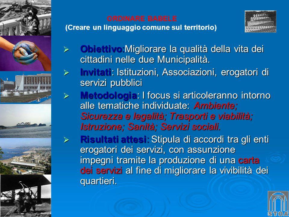 ORDINARE BABELE (Creare un linguaggio comune sul territorio) Obiettivo:Migliorare la qualità della vita dei cittadini nelle due Municipalità. Obiettiv