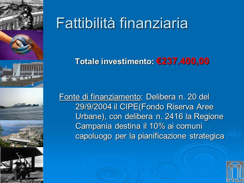 Fattibilità finanziaria Totale investimento: 237.400,00 Fonte di finanziamento: Delibera n. 20 del 29/9/2004 il CIPE(Fondo Riserva Aree Urbane), con d