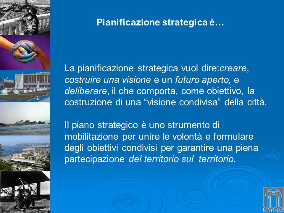 Pianificazione strategica è… La pianificazione strategica vuol dire:creare, costruire una visione e un futuro aperto, e deliberare, il che comporta, c
