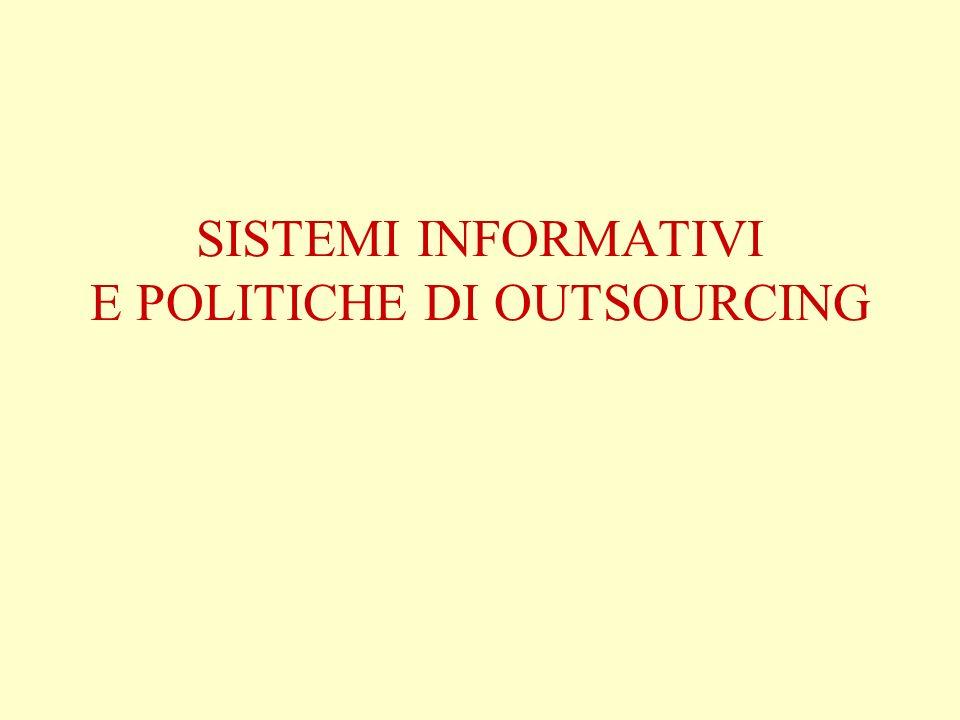 SISTEMI INFORMATIVI E POLITICHE DI OUTSOURCING