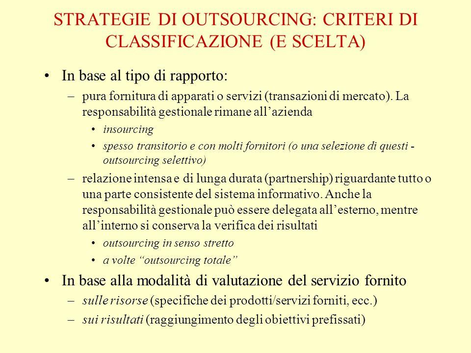 STRATEGIE DI OUTSOURCING: CRITERI DI CLASSIFICAZIONE (E SCELTA) In base al tipo di rapporto: –pura fornitura di apparati o servizi (transazioni di mercato).