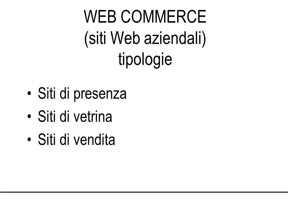 WEB COMMERCE (siti Web aziendali) tipologie Siti di presenza Siti di vetrina Siti di vendita