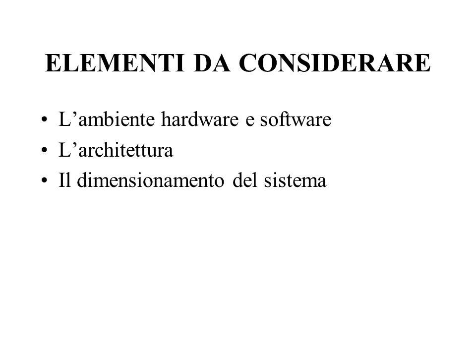 ELEMENTI DA CONSIDERARE Lambiente hardware e software Larchitettura Il dimensionamento del sistema