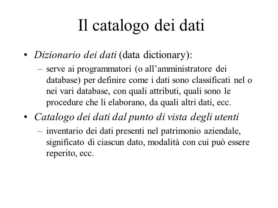 Il catalogo dei dati Dizionario dei dati (data dictionary): –serve ai programmatori (o allamministratore dei database) per definire come i dati sono c