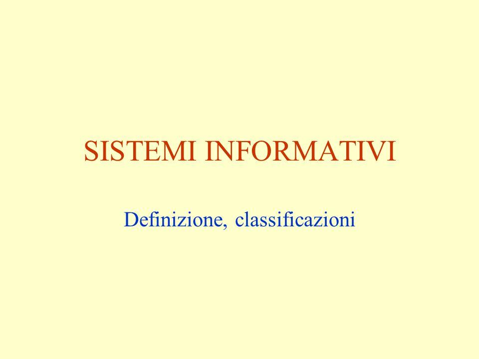 SISTEMI INFORMATIVI Definizione, classificazioni