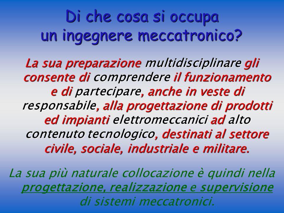 La sua più naturale collocazione è quindi nella progettazione, realizzazione e supervisione di sistemi meccatronici.